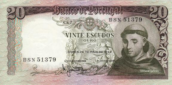 Billet de 20 escudos, 1964