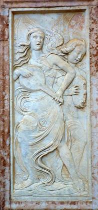 Oratorio de San Bernardino (Perugia, Italie). Détail de la façade
