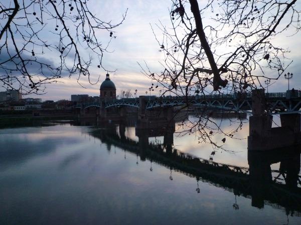 Toulouse, la Garonne au pont Saint-Pierre, 7 février 2010