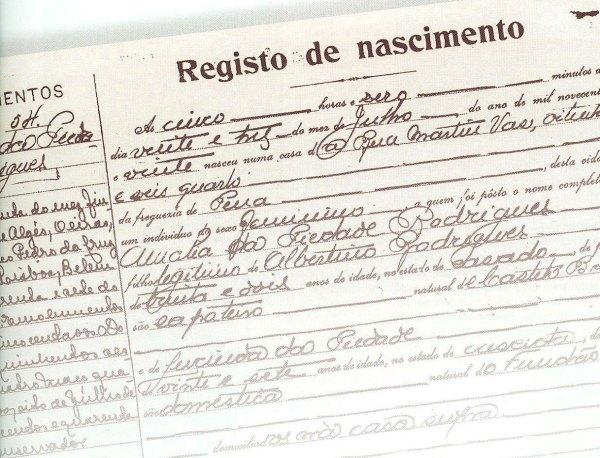 Acte de naissance d'Amália Rodrigues