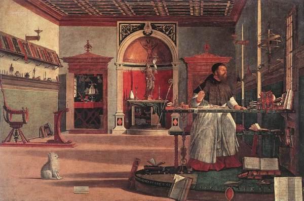 Vittore Carpaccio -- Sant'Agostino nello Studio (1502). Venezia, Scuola di San Giorgio degli Schiavoni