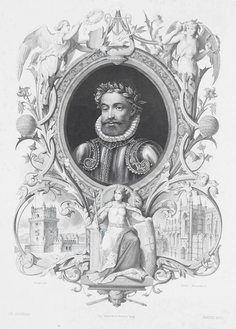 Portrait de Camões, extrait de : Os Lusíadas de Luiz de Camões. Leipzig : Giesecke & Devrient, 1880