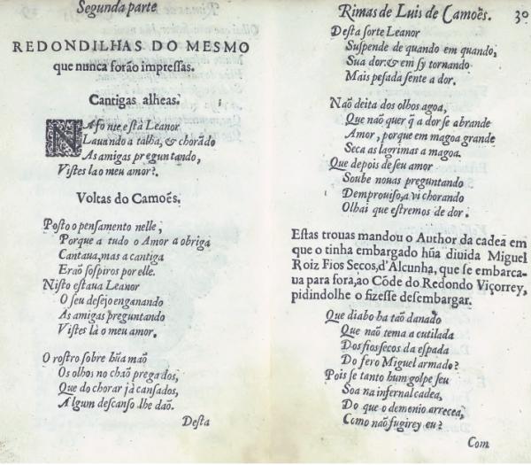 Camões, Luís de (1524?-1580). Rimas. Edition de 1616. Numérisation : Biblioteca Nacional de Portugal