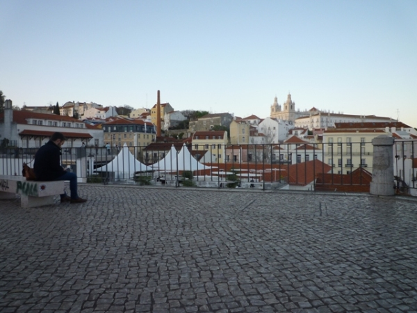 Lisbonne (Portugal), Miradouro das Portas do Sol, 17 mars 2012