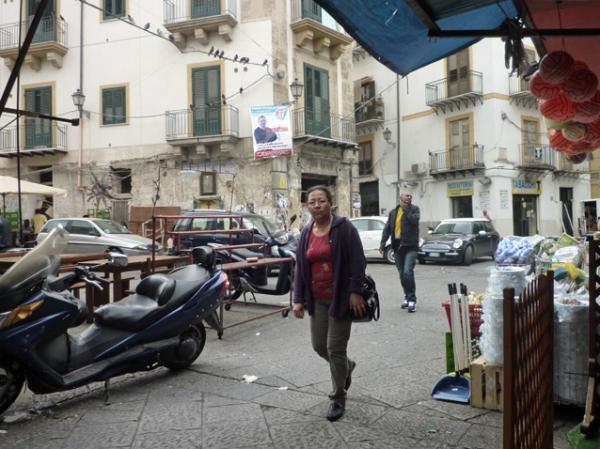 Palerme (Sicile). L'entrée du marché Ballaró, 7 mai 2012