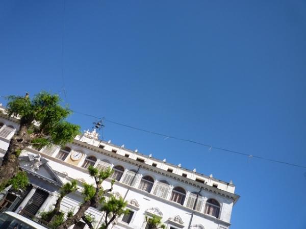 Palerme (Sicile). L'immeuble de la Banca Carige, Piazza del Monte di Pietà, 8 mai 2012