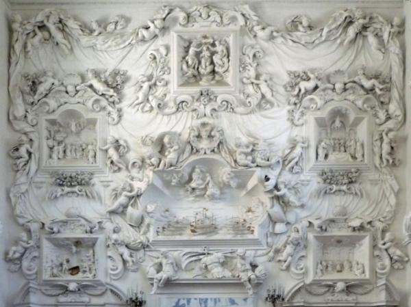 Palerme (Sicile). Oratorio di Santa Cita (décoration baroque de Giacomo Serpotta), 8 mai 2012