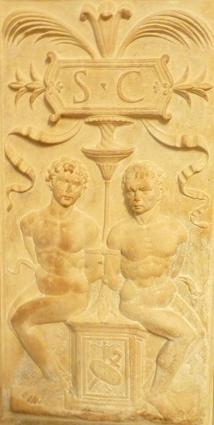 Urbino (Marches, Italie), Duomo. Détail d'un pilastre. 18 juillet 2012