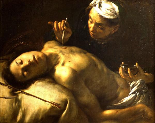 Francesco Cairo -- Saint Sébastien soigné par Irène (vers 1635). Musée des Beaux-Arts, Tours
