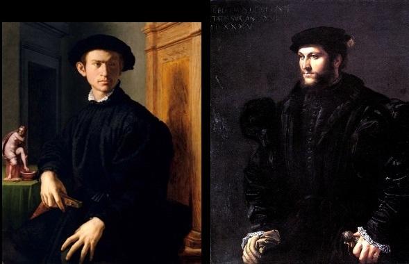 Agnolo di Cosimo di Mariano, dit Bronzino (1503-1572). Ritratto di giovane con liuto (1530-1532) / Girolamo Sellari, dit Girolamo da Carpi (1501-1556). Ritratto di gentiluomo in nero