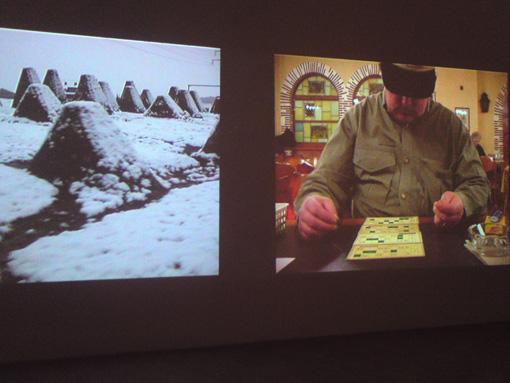 Exposition Adieu la Suisse, Montpellier, 8 décembre 2012.Erich Busslinger -- Inland-Archiv, installation vidéo