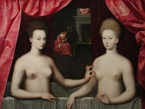 École de Fontainebleau, artiste non identifié. Portrait présumé de Gabrielle d'Estrées et de sa sœur la duchesse de Villars (vers 1594). Paris, Musée du Louvre.