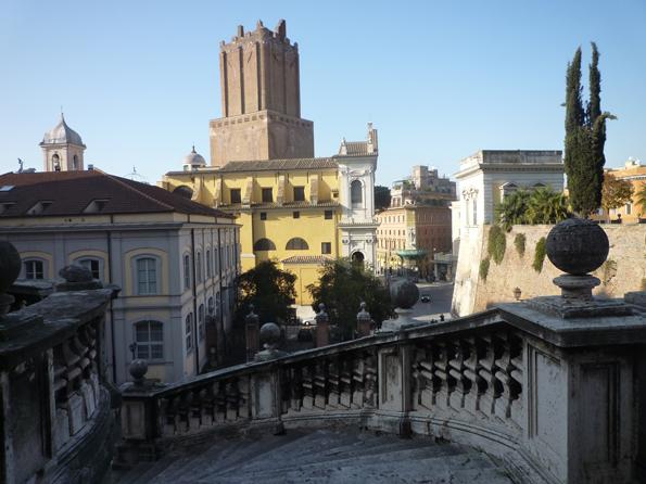 Vue (vers l'ouest) depuis le perron de l'église Santi Domenico e Sisto, Rome (Italie), 24 décembre 2012