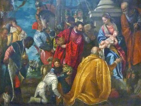 Paolo Veronese (1528-1588). L'adorazione dei magi (vers 1578), détail. Vicenza, église de Santa Corona
