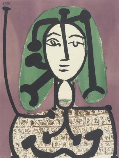 Pablo Picasso (1881-1973). La femme aux cheveux verts (gravure ; 1949)