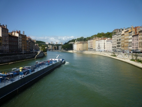 Lyon (France), la Saône, 21 août 2014