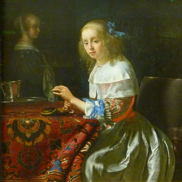 Frans van Mieris l'Ancien (Leyde 1635 - Leyde 1681) | L'enfileuse de perles (1658), détail. Musée Fabre, Montpellier (France)