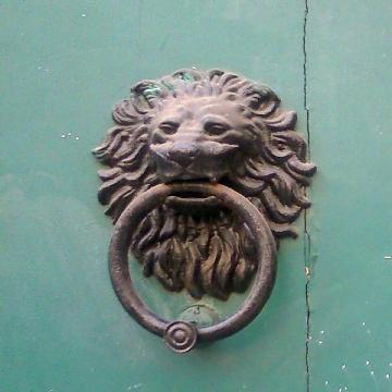 Toulouse (France), détail d'une porte, 5 juillet 2015