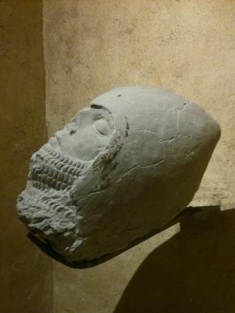Tête d'un chevalier, fragment d'un gisant (XIVe siècle). Toulouse (France), Musée des Augustins