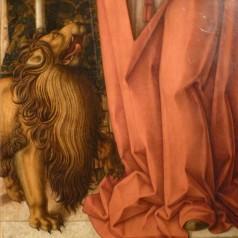 Carlo Crivelli (1430?–1495), I santi Ansovino e Girolamo (après 1490), détail. Milan (Italie), Pinacoteca di Brera, 7 novembre 2017