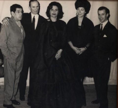 Alfredo Marceneiro, Filipe Pinto, Amália Rodrigues, Lucília do Carmo et Fernando Farinha au théâtre Tivoli (Lisbonne) en 1962