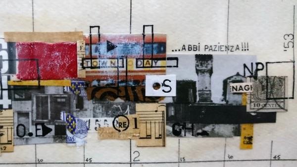 Gianni Emilio Simonetti. Mutica, Dadaismutt (1966). Détail. Technique mixte sur carton. Collection commune Gino di Maggio. Exposition Viva Gino ! Une vie dans l'art, musée des Abattoirs, Toulouse, 2020.