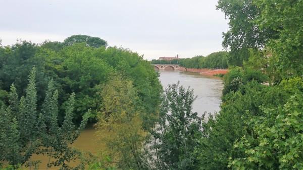 Toulouse (Occitanie, France). La Garonne depuis le pont Saint-Michel, 29 avril 2020