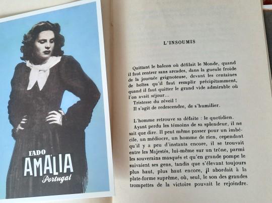 Le livre : Henri Michaux, Plume ; précédé de Lointain intérieur, nouvelle éd. revue et corrigée, Gallimard, impr. 1972, avec un marque-page représentant Amália Rodrigues.
