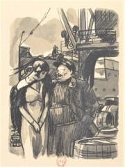 Charles Auguste Edelmann (1879-1950). Illustration extraite de Marie Galante (roman, 1931), Jacques Deval (1890-1972), compositions de C.-A. Edelmann ; gravées sur bois par G. Beltrand,  Paris, Mornay, 1935.