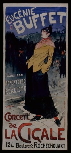 Lucien Métivet (1863-1932). Eugénie Buffet dans son répertoire réaliste : concert de La Cigale... Affiche/ Sans date. Source : Médiathèque de Chaumont (Haute-Marne, France)