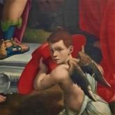 Luca Cattapane (actif de 1585 à 1597). Crocifissione con i santi Fermo, Girolamo e Gregorio magno (1593), détail. Duomo di Cremona (Lombardia, Italia) = Cathédrale de Crémone (Lombardie, Italie)