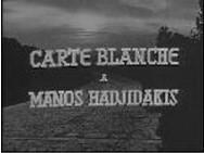 Écran-titre de l'émission « Carte blanche à Manos Hadjidakis », France, Radiodiffusion télévision française (RTF), 1963 (capture d'écran)